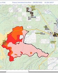 A map of the Milli Fire west of Sisters as of Aug. 29.