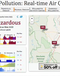 A screenshot of the air quality index for Bend as of 8 am Wednesday.
