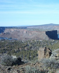 A view of Lake Billy Chinook, Ore., with a view of The Cove Palisades State Park facilities below.