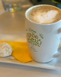 Each coffee drink is served with a delicate amaretto cookie. Dunking is optional.