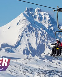 Skiers quad up at Mt. Bachelor.