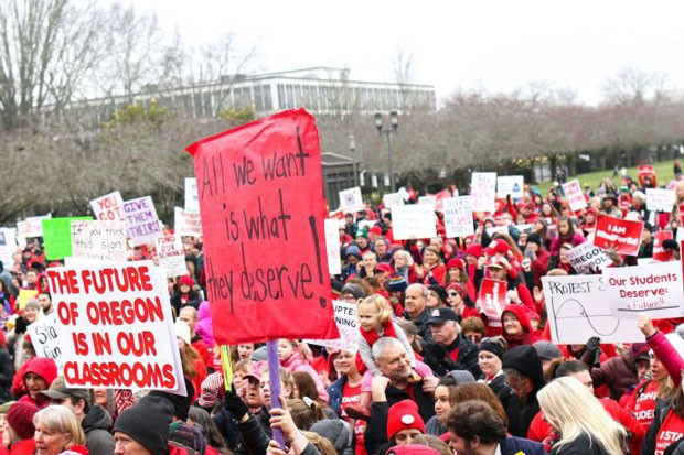 Teachers, parents and students rally to get education funding for public schools in Oregon. - TOM PATTERSON