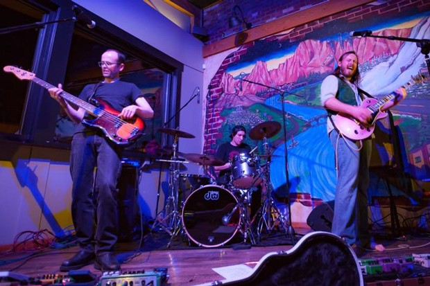 Patrick Pearsal thumbs bass, Dylan Burnall pounds drums and Eric Leadbetter shreds on the band's new album, debuting Saturday night at Silver Moon. - SUBMITTED