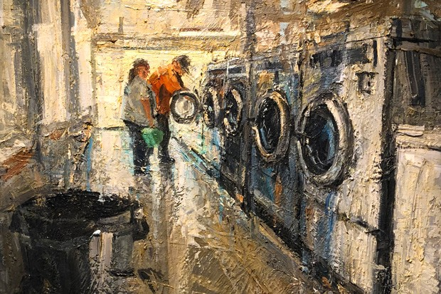 Laundromat 029, oil painting by Donald Yatom. - TEAFLY PETERSON