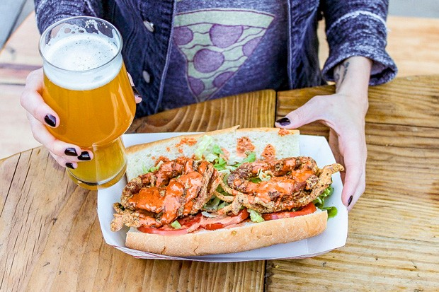 Bevel Brewing IPA and a Soft-Shell Po' Boy sandwich from Southern Accent. - NANCY PATTERSON