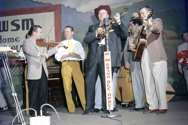 Bill Monroe on the Grand Ole Opry, Nashville, circa 1968. - COURTESY OF LES LEVERETT COLLECTION, GRAND OLE OPRY ARCHIVES