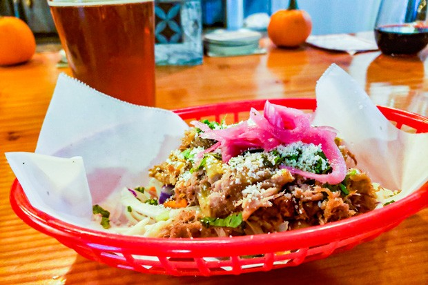 Root Beer Carnitas taco from Westside Taco Co. food truck at The Vault Taproom. - CAYLA CLARK