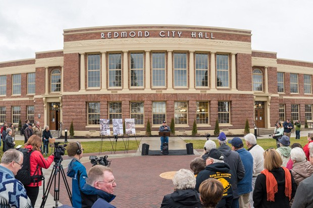 The grand opening of the renovated City Hall in February 2017. - CITY OF REDMOND
