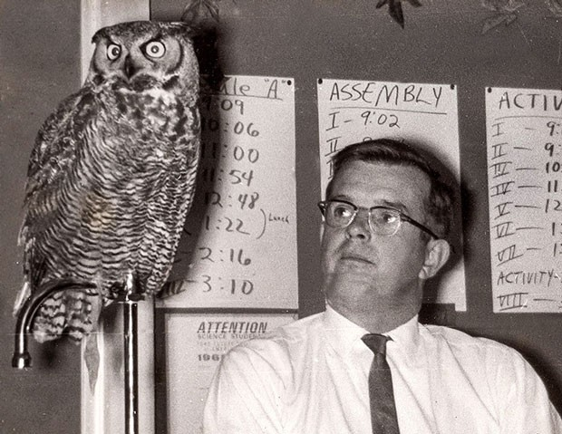 Jim Anderson and Owl doing their thing at a school lab back in the OMSI days of the '60s. - SUBMITTED