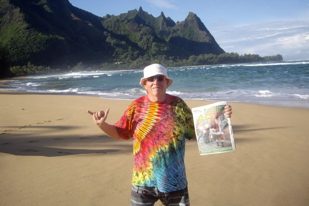 A Source Weekly, spotted on the north shore of Kaua'i! Source staffer Richard Sitts, in his signature tie-dye gear, brought a copy of the Source on vacation, just to share this photo. Makes us wonder, where else has the Source gone this year? - WILL WHERITY