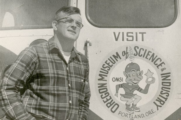 """A younger Jim Anderson, OMSI staff naturalist, stands outside the OMSI """"Space Cruiser"""" of the 1960s. - JIM ANDERSON"""