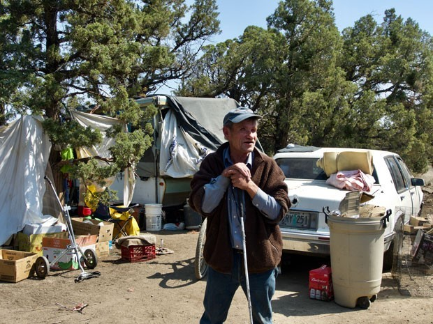 Source reporter Chris Miller took this photo of Mark in 2018 for a story about a homeless camp closed by the Central Oregon Irrigation District in Redmond. The count next Wednesday will attempt to get accurate numbers for people living outside. - CHRIS MILLER