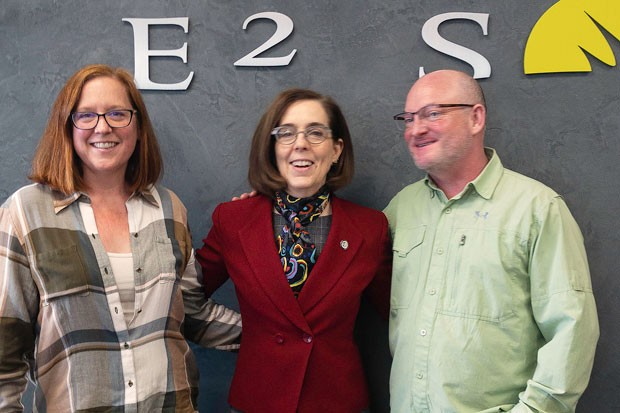 Gov. Kate Brown poses for a photo with E2 Solar staff during her visit to Bend Jan. 23. - COURTESY E2 SOLAR