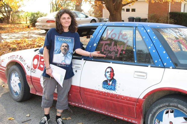 Election season is serious in Iowa—one of six states doing caucuses this election cycle. Here's my super dope aunt in front of her self-painted Obama Mobile, which she used to drive around Iowa registering voters. - COURTESY TIFFANY BIEHL