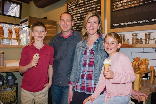 Jeff and Juli Labhart and family at Bonta Gelato's downtown location. - DARRIS HURST
