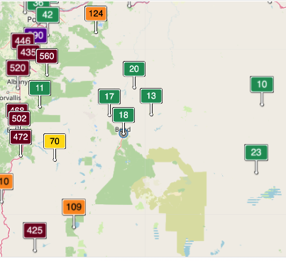 """Bend's air quality was at """"Good"""" levels Tuesday evening; not so much for locations in the Willamette Valley. - AQICN.ORG"""