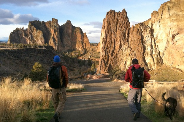 Climbers Matt Jones (left) and Wally Fox (right) set out on a day of climbing at Smith Rock. - COURTESY MAX TEPFER