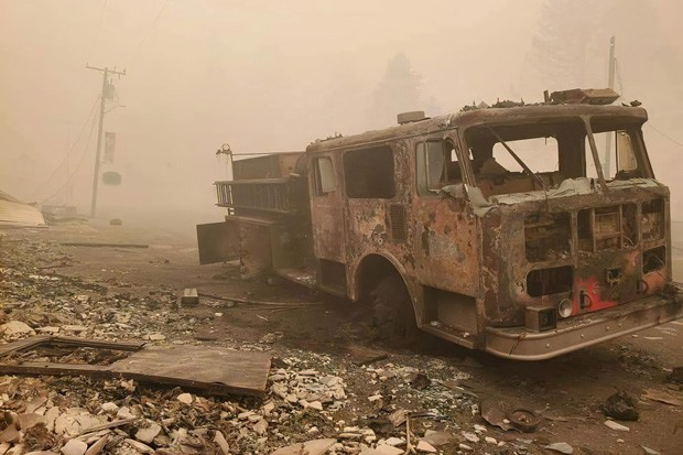 The remains of the Idanha-Detroit Rural Fire Protection District's old fire truck, destroyed  by the Beachie Creek Fire. - COURTESY PAMPLIN MEDIA GROUP VIA RFPD