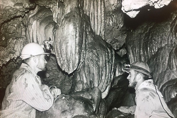 Loving the natural world, above and below ground... A reader shared this photo of longtime Source Natural World contributor, Jim Anderson, at right, inside the Lavacicle Caves with a caving pal in the late '50s or early '60s. Classic! - SUBMITTED