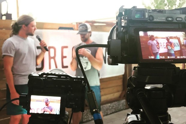 Behind the scenes as HDMC founder Charlie Utter interviews musician LeftSlide during Save the Music Saturdays at Silver Moon. - HIGH DESERT MUSIC COLLECTIVE