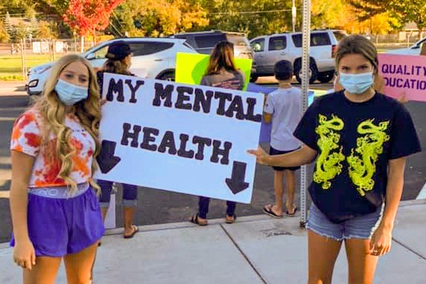 Students and parents attended a rally Mon., Oct. 5 in downtown Bend in protest of virtual learning options and in hopes of reopening in-person learning. On Tuesday, Gov. Kate Brown announced she would be revisiting state metrics to possibly reopen schools sooner. - COURTESY DEENA SPARKS