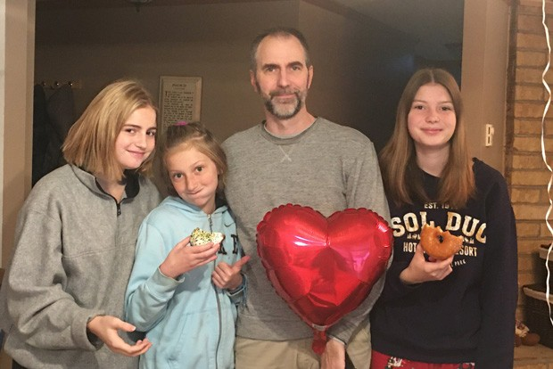 PJ Bartz with her sisters and dad, celebrating the one-year anniversary of her heart transplant. - CHERYL BARTZ