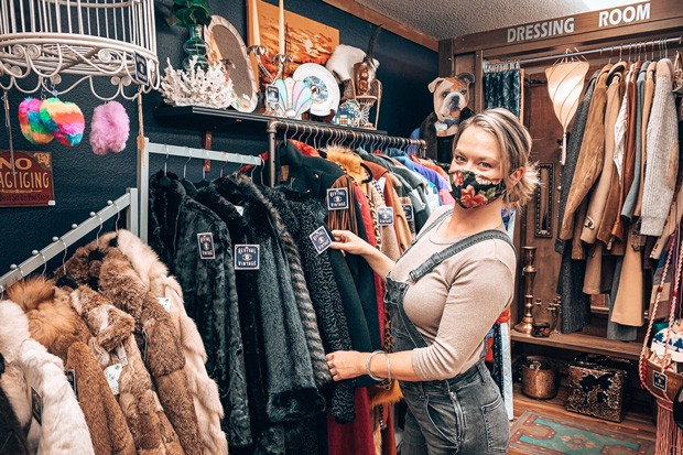 Getting through the pandemic is going to require community, mutual support and, yep, social media, says Shasta Ashford, owner of new shop Revival Vintage. - MAGDELENA BOKOWA