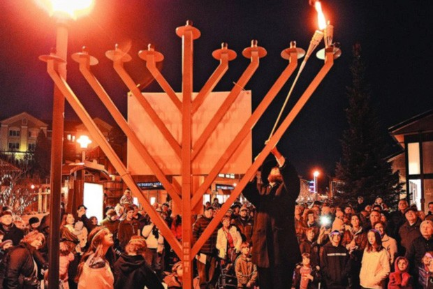 The event will look different this year (what doesn't in 2020?!) but the annual menorah lighting at the Old Mill is still happening this year, and slated for Thursday Dec. 10 at 4:30pm. The ceremony takes place in the westside parking lot across the Deschutes River from the shops, near the Hampton Inn, where people can watch the menorah lighting from their cars. After the lighting, the menorah will be placed in the Old Mill's Center Plaza, where it's been placed in other years—like the one seen here. - COURTESY OLD MILL DISTRICT