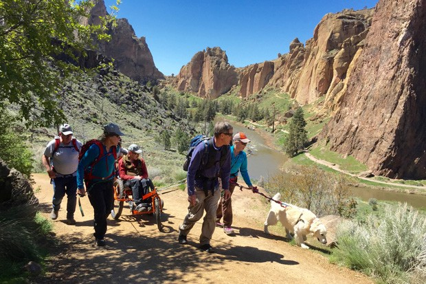 The AdvenChair and company take on Smith Rock State Park. - COURTESY ADVENCHAIR