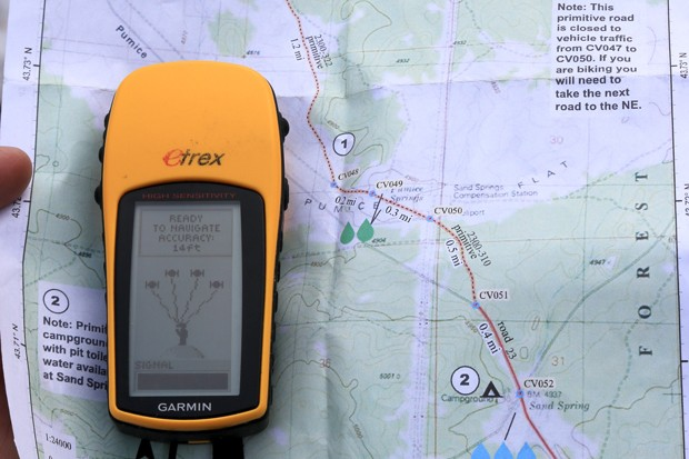Navigating the Oregon Desert Trail with an Oregon Natural Desert Association map. - DAMIAN FAGAN