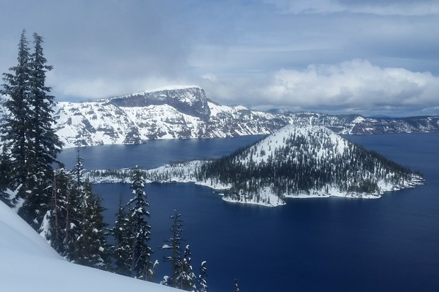 A spectacular winter view across Crater Lake from the West Rim Drive. - DAMIAN FAGAN