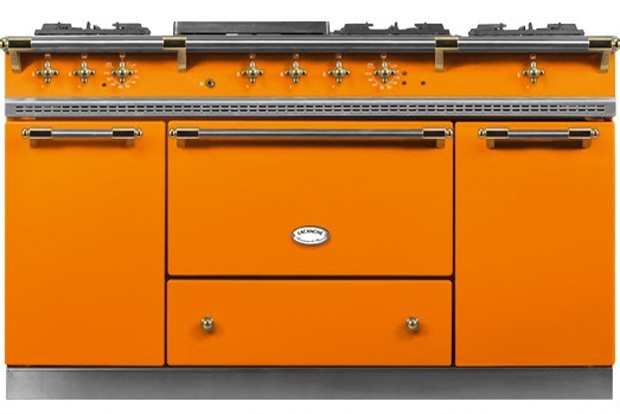 An ornate orange range inspired by a former San Francisco row house resident is chosen in one of Rossi's projects as the centerpiece to a kitchen diverging from the farm chic look. - COURTESY KERRI ROSSI