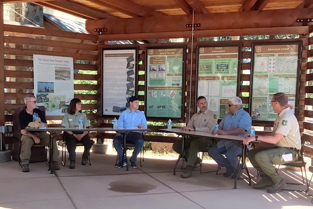 Senator Ron Wyden joins federal and state firefighting officials to discuss the wildfire season in Central Oregon. - JACK HARVEL