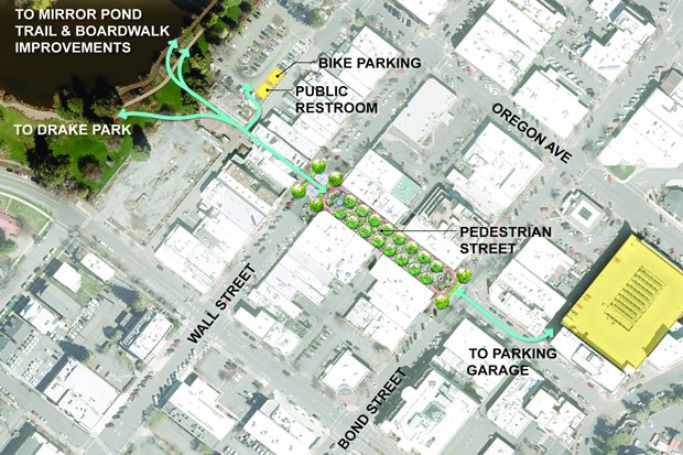 A map from DBBA shows an overhead view of how the pedestrian plaza will connect with Drake Park and the parking garage on Oregon Avenue. - DOWNTOWN BEND BUSINESS ASSOCIATION