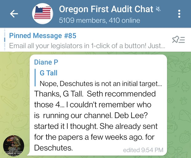 OREGON FIRST AUDIT CHAT