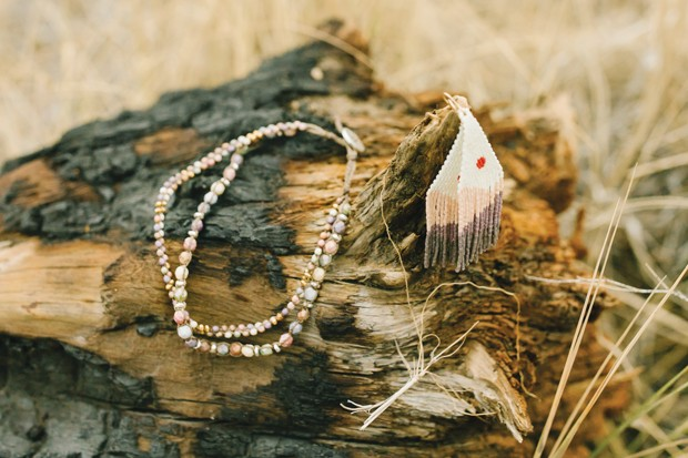 Bronwen  Canyon Sunrise Earrings, Hoof & Arrow, $85  / Harmony Wrap Bracelet, Bronwen, $98 - DREW CECCHINI