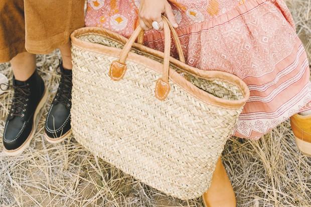 Dutch + Bow Handmade Leather /Palm Moroccan Market Basket, $65  /  Bronwen Moonstone Ring, WorldScout, $98 - DREW CECCHINI