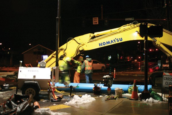 Construction on the sewer system under Bond Street and Arizona Avenue was complete on Dec. 18.