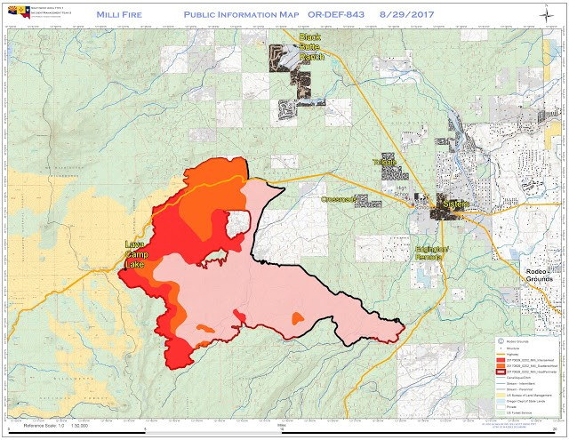 A map of the Milli Fire west of Sisters as of Aug. 29. - CENTRAL OREGON FIRE INFORMATION