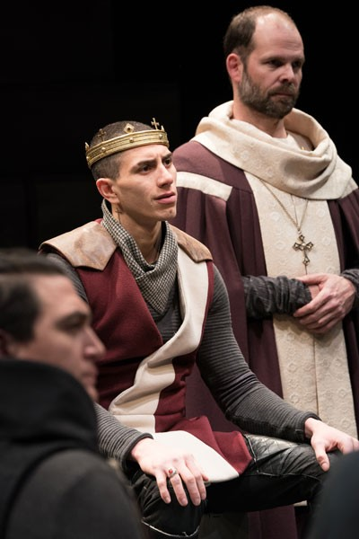 Center, Henry V, played by Daniel Jose Molina, listens to his loyal subjects about going to war with France. - JENNY GRAHAM