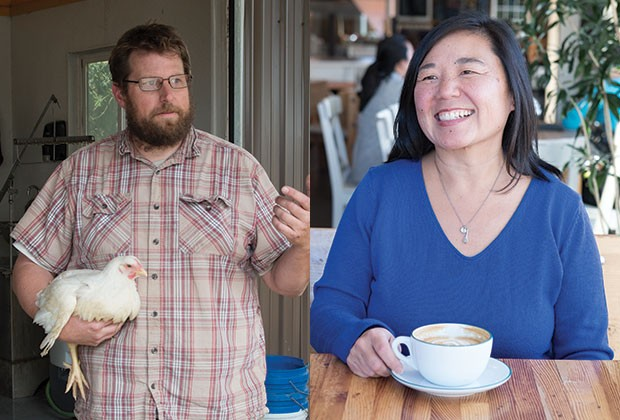 "Left, Justice Hoffman, from The Great American Egg, discusses chickens before making ""Bend Food"" author Sara Rishforth turn green during slaughter. Right, Latte enthusiast Sara Rishforth at Jackson's Corner, one of the restaurants featured in ""Bend Food."" - CHARLIE THIEL"
