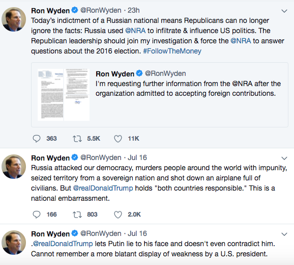 Wyden's tweets Tuesday. - TWITTER