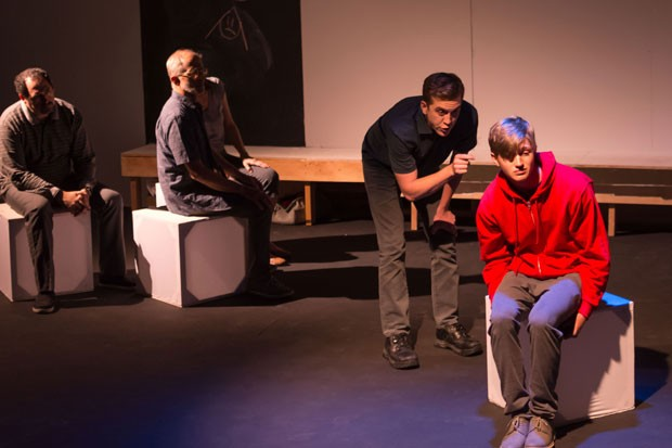 Ed (Craig Brauner) tries to communicate with Christopher (Spencer Johnson, seated). - ARTON PHOTOGRAPHY