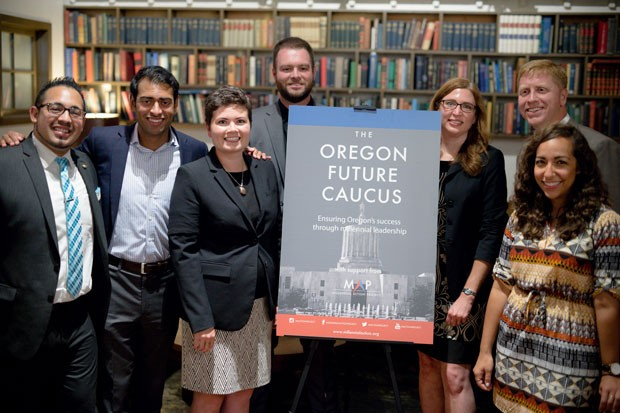 (Left to right) Rep. Diego Hernandez, D-Portland; Steven Olikara, President, Millennial Action Project; Rep. Karin Power, D-Milwaukie; Sen. Dallas Heard, R-Roseburg; Rep. Julie Fahey, D-West Eugene/Junction City; Rep. Daniel Bonham, R-The Dalles and Layla Zidane, COO, Millennial Action Project. - MILLENIALACTION.ORG