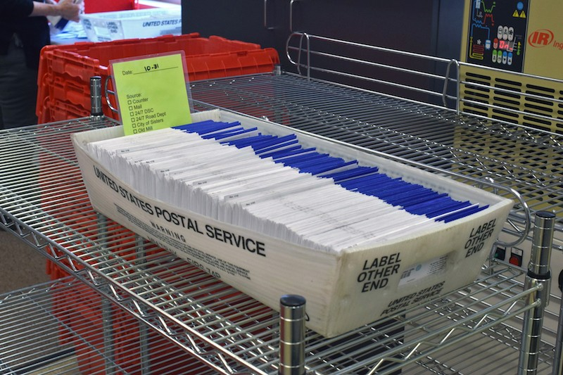 With Oregon's mail-in voting system, ballots come into the county clerk's office for weeks. - JACLYN BRANDT