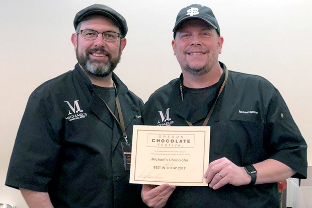 Michael's Chocolate owners Curtis Wallis and Chef Michael Benner took home Best in Show at the Oregon Chocolate Festival. - LISA SIPE