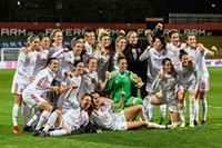 FIFA Women's World Cup 2019 Qualification Austria vs. Spain 2018/04/10. Picture shows team of Spain after the match.