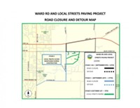 A Deschutes County map shows the location of construction planned for Ward Road and nearby streets.