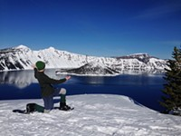 Our presenter taking in the beauty of Crater Lake in the winter!