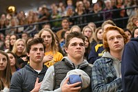 Students recite the Pledge of Allegiance at Bend High School